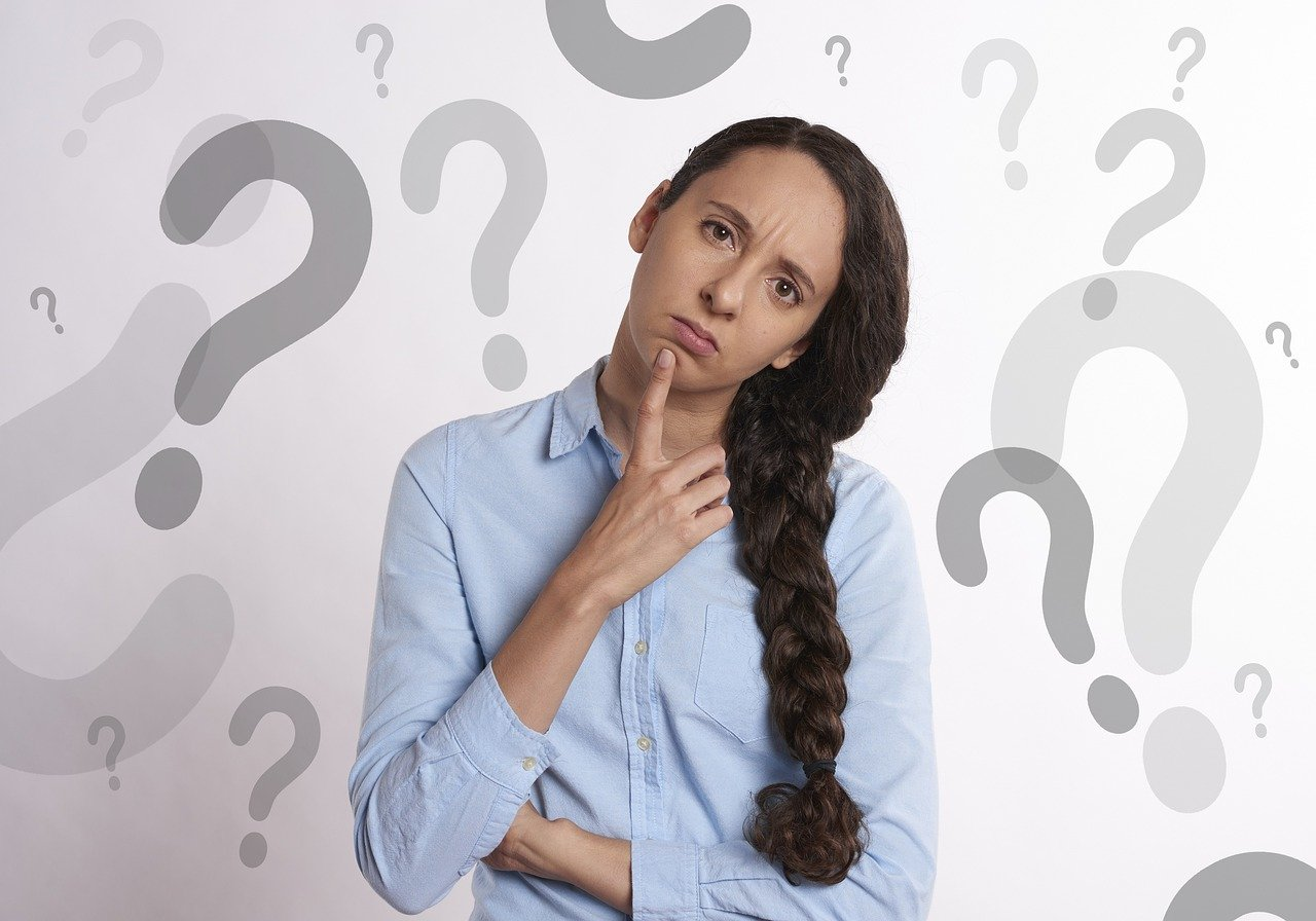 woman, thinking, question